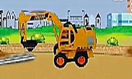 儿童动画吊车 挖掘机装车视频表演_舞蹈视频在